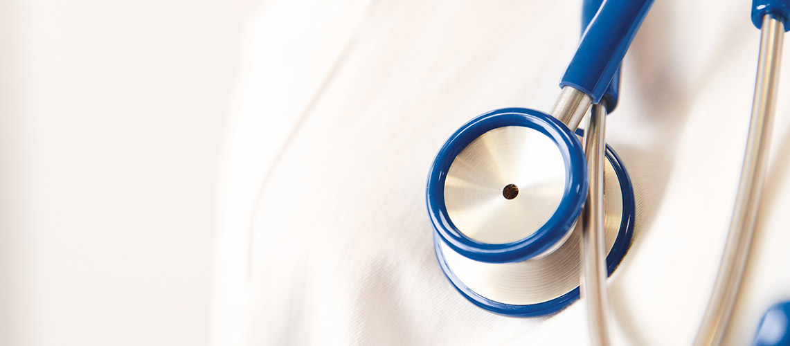 A blue and white stethoscope