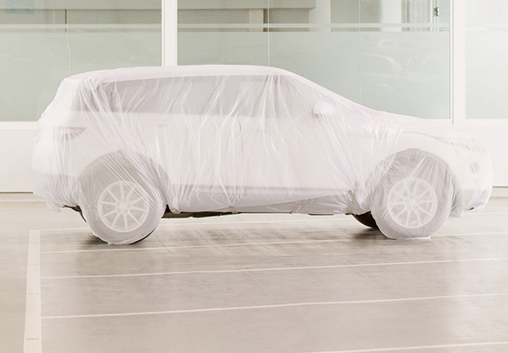 A car with protective cover